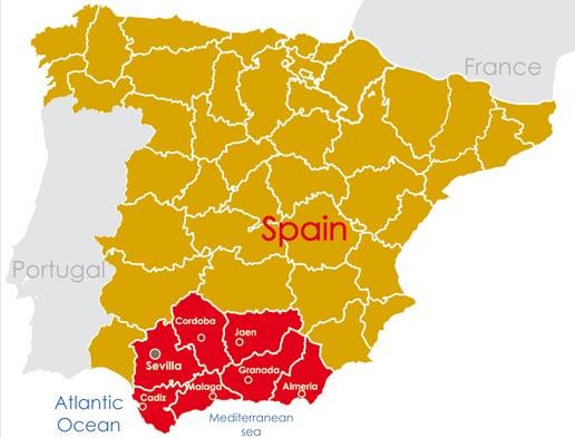 carte de l'itinéraire Andalousie du voyage moto en Espagne