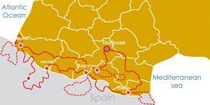 carte de l'itinéraire de 13 jours du voyage moto dans les Pyrénées